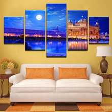 Indian Golden Temple Poster 5 Pieces High Quality Canvas Painting Wall Art Home Decor For Modern Living Room Modular Picture