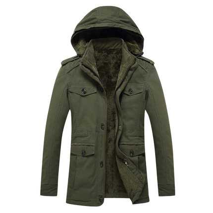 New Brand Winter Mens Cotton-Padded Outerwear Europe America Faux Lambs Wool Coat High Quality Fleece Warm Jacket Khaki A4580 factory outlets 2014 new winter in europe and america women british style stitching cotton quilted jacket short parkas coat