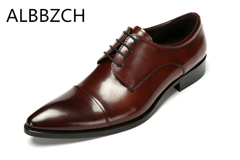 New mens genuine leather dress shoes men pointed toe lace up wedding shoes black brown high quality office work shoes size 38 44New mens genuine leather dress shoes men pointed toe lace up wedding shoes black brown high quality office work shoes size 38 44