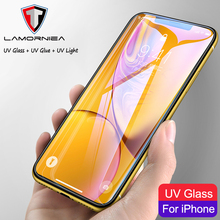 Lamorniea UV Liquid Full Glue Tempered Glass For iPhone X XS Max XR Screen Protector 11 Pro 7 8