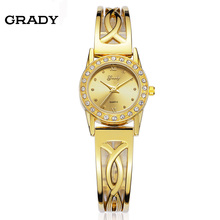 GRADY New Arrival 5ATM Waterproof Golden Case Woman Luxury Ladies Dress Women Quartz Brass Gift Wrist Watch Stainless steel case