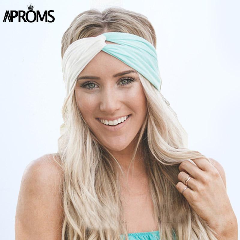 Aproms Twist Turban Headband for Women Hair Accessories Stretch Hairbands Girls Headwear Headbands Head Wrap Band Bandanas halloween party zombie skull skeleton hand bone claw hairpin punk hair clip for women girl hair accessories headwear 1 pcs