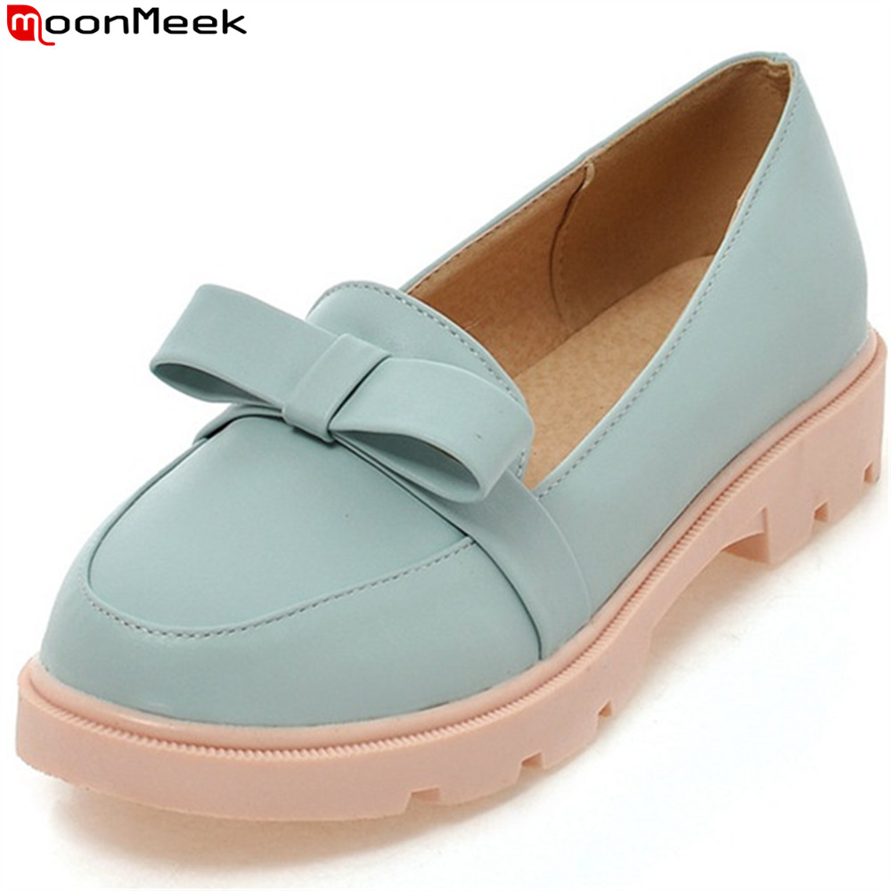 MoonMeek 2018 fashion spring autumn women shoes round toe casual shoes shallow butterfly knot ladies flats shoes sweet spring autumn women shoes fashion rhinestone slip on round toe flats shallow mouth mature shoes mary janes casual loafers shoes