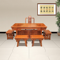 China Antique Tea Table Furnishings And Desk Chinese Special Hedgehog Rosewood Furnishings With 5 Chairs And A Desk