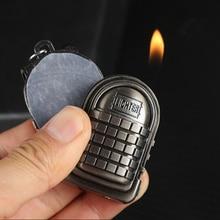 купить New PUBG Gas Jet Lighter Three level Bag Package Lighter Keychain Free Fire Refillable Cigarette Metal Battlegrounds NO gas дешево