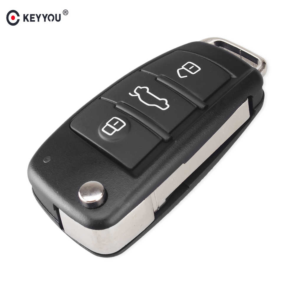 KEYYOU Folding Flip 3 Button Remote Car Key Shell Cover Fob For Audi Q7 A3 A4 A6 A6L A8 TT Uncut Blade Fob Case Replacement