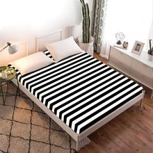 1pc Black & White 100% Polyester Solid Fitted Sheet Mattress Cover Four Corners With Elastic Band Bed Sheet(China)