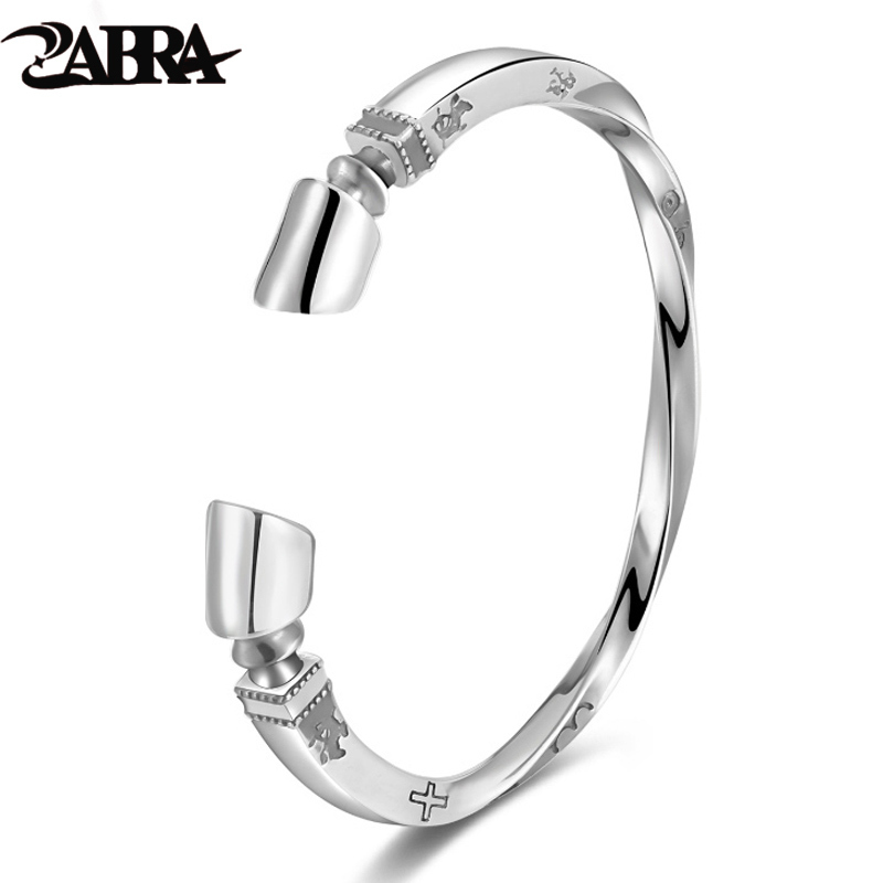 ZABRA Solid 925 Sterling Silver Viking Bracelet Men Vintage Punk Rock Silver Cuff Bangle Open Bracelets Biker Mens Jewelry v ya vintage thai silver men bracelets bangles 925 sterling silver mens bracelet bangle cuff fine jewelry