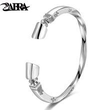 ZABRA Solid 925 Sterling Silver Viking Bracelet Men Vintage Punk Rock Silver Cuff Bangle Open Bracelets Biker Mens Jewelry