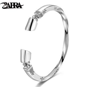 1be1f32bfde1 ZABRA sólido plata esterlina 925 Viking pulsera hombres Vintage Punk Rock  brazalete de plata del brazalete abierto pulseras de joyería para hombre