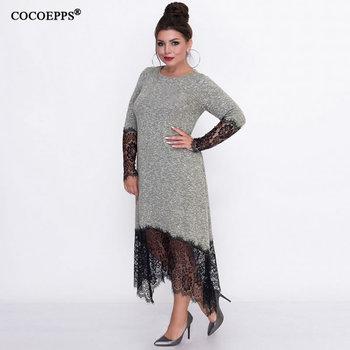 5XL 6XL 2018 Autumn Plus sizes Long Dress Women Casual Big sizes Lace Dress Bodycon Female Elegant Party Office Dress Vestidos 1