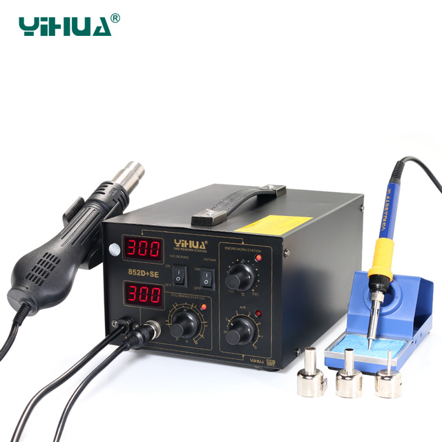 Hot Air Soldering Warming Up Quickly With Imported Heater Element Hot Air Soldering Station YIHUA 852D+SE Brushless 220v 50w yihua 937 soldering station with extra free hakko a1321 ceramic heater