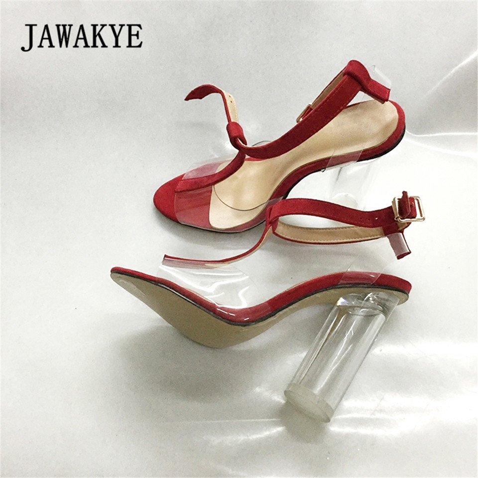 JAWAKYE Summer Shoes Woman PVC Gladiator Sandals Transparent Clear Shoes High Heels Pumps Clear Heel Jelly Sandalias Mujer 2018 mobeini women pumps gladiator sandals pvc clear block high heel transparent boots high top pumps perspex lucite summer shoes