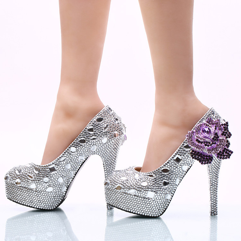 ФОТО 2017 Wedding Ceremony Shoes 14cm High Heel Silver Rhinestone Bridal Dress Shoes with Purple Crystal Flower Party Prom Pumps