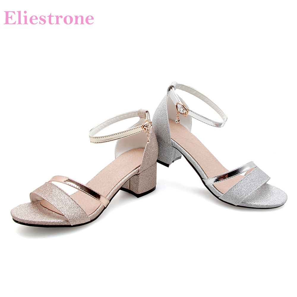 4de8806222b Brand New Summer Comfortable Gold Silver Women Glossy Sandals Chunky Heels  Lady Party Shoes PS12 Plus Big Small Size 10 31 45 52