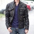 Men's clothing pig skin fashion motorcycle short design leather biker jacket male genuine leather male coat plus size
