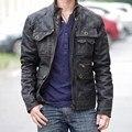 Ropa de los hombres de piel de cerdo moda motocicleta del diseño del cortocircuito chaqueta de motociclista de cuero masculina genuina masculina de cuero más tamaño