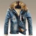 2016 Boa Qualidade Do Vintage Denim Rasgado Dos Homens Quentes de Inverno Jaqueta Gola de Pele de Moda Masculina Do Vintage Jaqueta Jeans Com Furo S-3XL