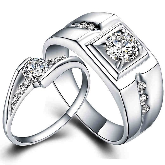 Couple Pair wedding ring set White Gold plate matching engagement