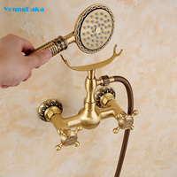 Free Shipping Brass Material Bronze Finish Luxury Bathroom Rain Shower Set,Vintage Carving Bathtub Mixer Facuets System LY 738 2