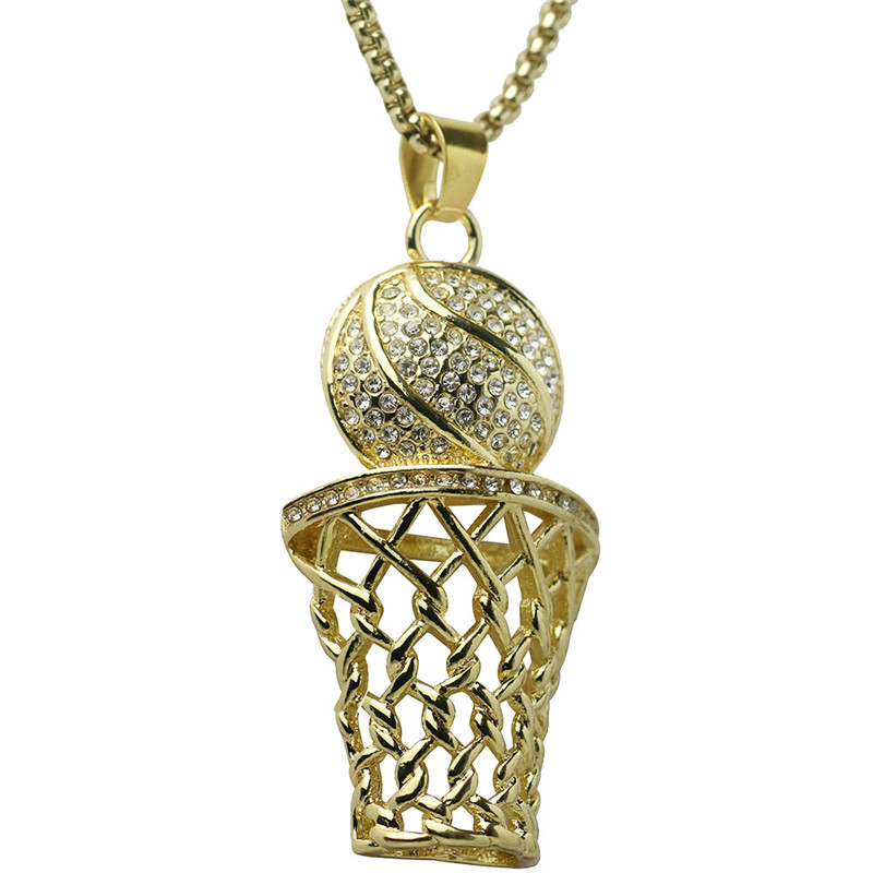 Basketball Hoop Pendant Long Chain Gold-colors Men Necklace Sport Fitness Hip Hop Fashion Jewelry For Male Dropshipping Lover