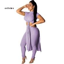 цены на Echoine Women Two Piece Set Knit Ribbed Crop Tops Short Sleeve O-Neck Sash Lace Up Casual Sport Suits Elastic Long Pencil Pants  в интернет-магазинах