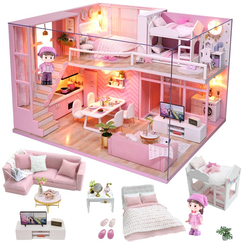 Cutebee Doll House Furniture Miniature Dollhouse DIY Miniature House Room Box Theatre Toys For Children Stickers DIY Dollhouse D