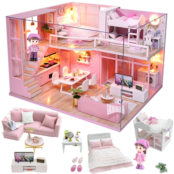 Cutebee Doll House Furniture Miniature Dollhouse DIY Room Box Theatre Toys for Children stickers D