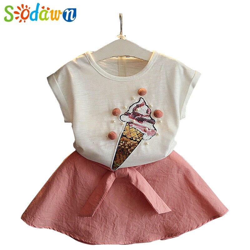 Sodawn Summer Girls Cltohing Set Cartoon Ice Cream Pattern Design T-Shirt+Cute Dress Suit Baby Girls Clothes Children Clothing