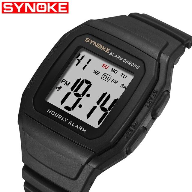 Synoke Men's Watches Relogio Masculino Multi Functional Sports Electronic Watch Men Waterproof Women Square Brand Luxury Band