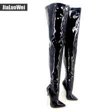 7″ High Heels Trend Women Winter Boots  Patent Leather Boots Female Heel Plain Stretch Crotch Thigh High Boot Black Plus Size