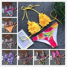 2019 New Sexy Bikini Swimwear Women Push Up Swimsuit Halter Top Bikini Set Ruffle Bathing Suit Beach Wear Print Biquini