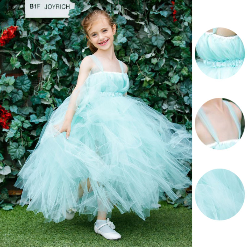 Princess Flower Girls Ball Gown Dress For Wedding Birthday Party With Ribbons Real Photo Baby Girls Tutu Tulle Dress PT33