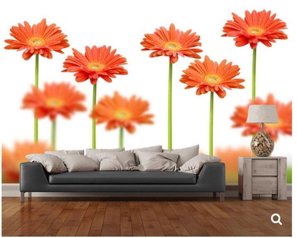 Benutzerdefinierte Natur tapete. Einige orange blumen, 3D wandbild ...