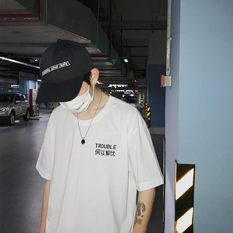 Nice Vogue China <font><b>HongKong</b></font> Style English Chinese Characters Casual Loose Mens Couples Clothes <font><b>T</b></font>-<font><b>shirt</b></font> Streetwear Fashion Tees image