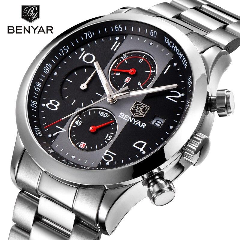2018 BENYAR Black Quartz Watch Top Brand Luxury Men Watch Fashion Man Business Quartz Stainless Steel watches Relogio Masculino