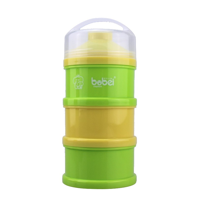 New Baby Children Portable Powder Milk Box Colorful 3 Layer Independent Split Charging Lattice Snacks Storage PP