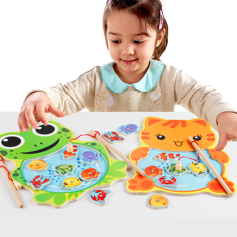 Baby Educational Toys Wooden Magnetic Fishing Toy Set Fish Game Educational Fishing Toy Child Birthday Christmas