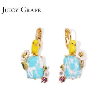 Juicy Grape hand painted enamel earring jewelry Blue Natural Stone Boucle D Oreille Cute Sieraden Joyas