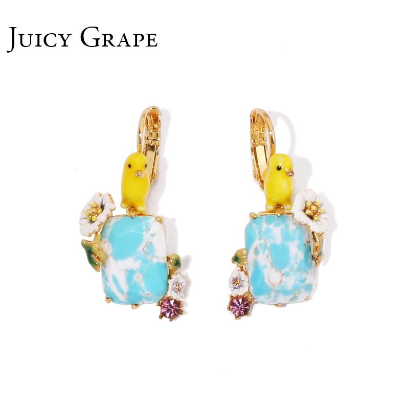 Juteux raisin peint à la main émail Boucle d'oreille bijoux bleu pierre naturelle Boucle D Oreille mignon boucles d'oreilles Sieraden Joyas femmes cadeau