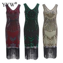 Vintage 1920s Flapper Great Gatsby Dress 2020 Summer V Neck V Back Sleeveless Sequin Layer Tassel Fancy Costumes Party Dresses