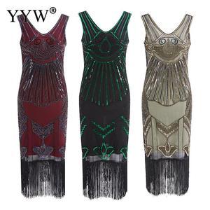 Image 1 - Vintage 1920s Flapper Great Gatsby Dress 2020 Summer V Neck V Back Sleeveless Sequin Layer Tassel Fancy Costumes Party Dresses