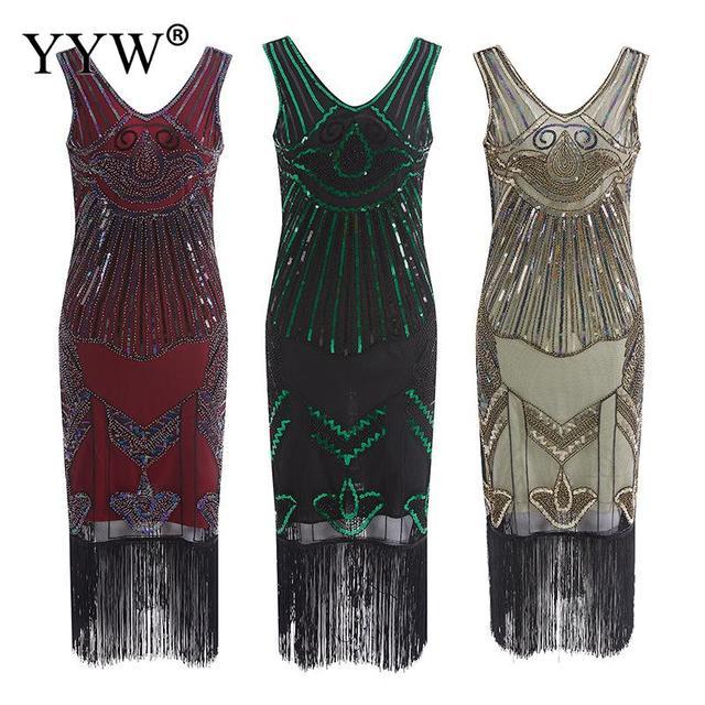Vintage 1920s Flapper Great Gatsby Dress 2020 Summer V Neck V Back Sleeveless Sequin Layer Tassel Fancy Costumes Party Dresses