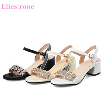 Brand New Summer Sweet Beige White Women Dress Sandals Chunky Heels Lady Crystal Shoes PS16 Plus Big Small Size 11 31 43 49 52