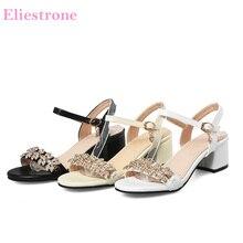 Marka Yeni Yaz Tatlı Bej Beyaz Kadın Elbise Sandalet Tıknaz Topuklu Bayan Kristal Ayakkabı PS16 Artı Büyük Küçük Boyutu 11 31 43 49 52