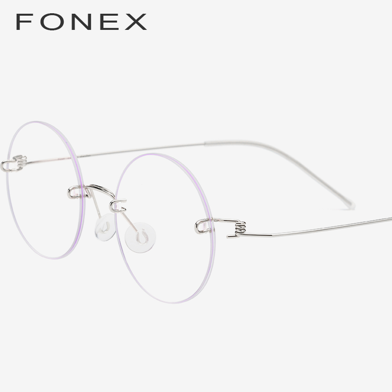 805bdfbe64e FONEX Screwless Eyewear Prescription Eyeglasses Women 2019 Rimless Round  Myopia Optical Korean Titanium Alloy Glasses Frame Men-in Eyewear Frames  from ...
