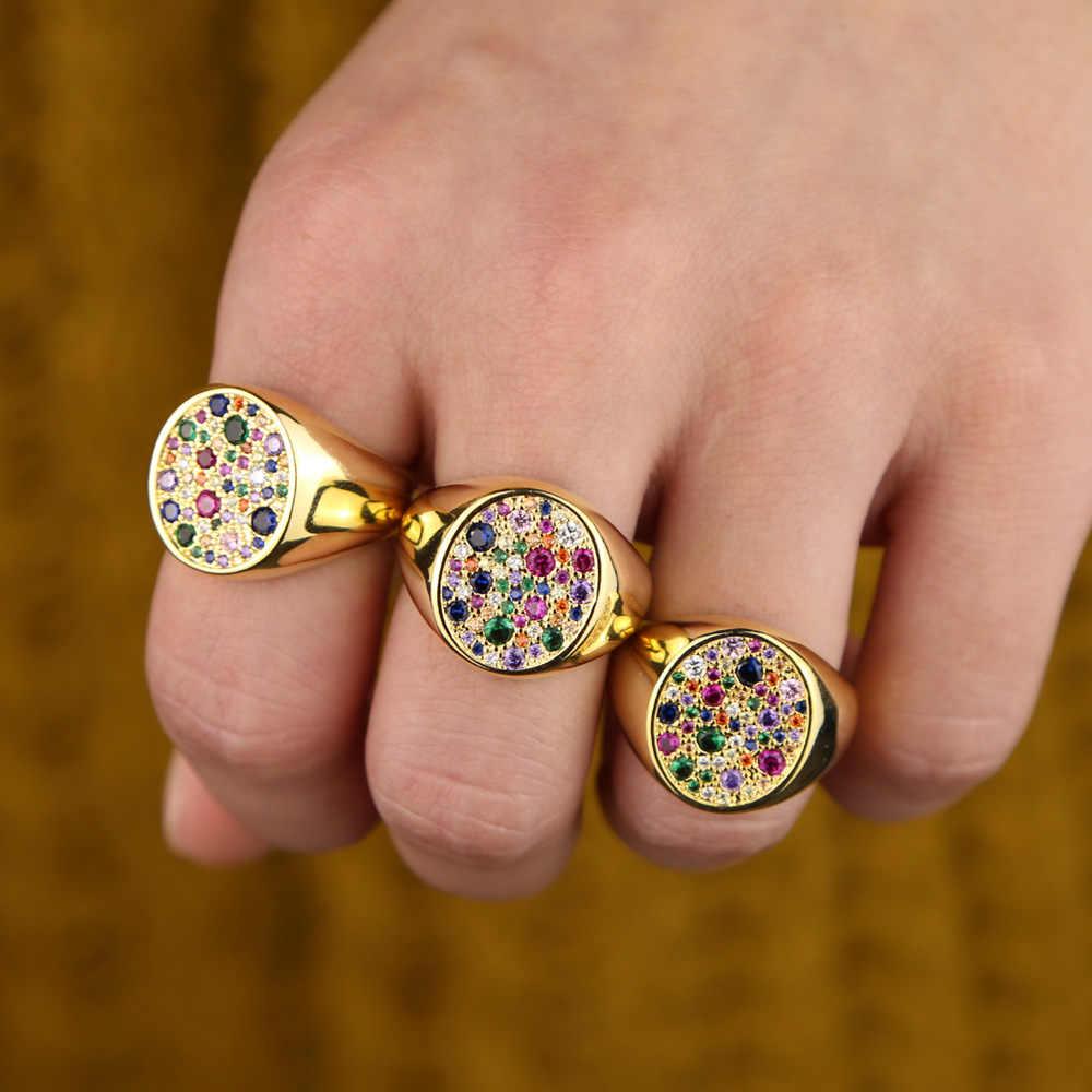 Американский размер 5 6 7 8 eurpean женщины великолепный модный палец большие кольца с радугой красочный кубический цирконий фианит золотистого цвета кольца