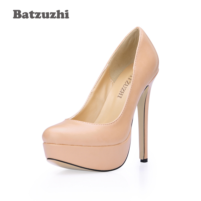 Batzuzhi 14cm Ultra High Women Shoes Round Toe Platform Pumps Classic Nude High Heel Shoes for Party Zapatos Mujer, Big Size 40
