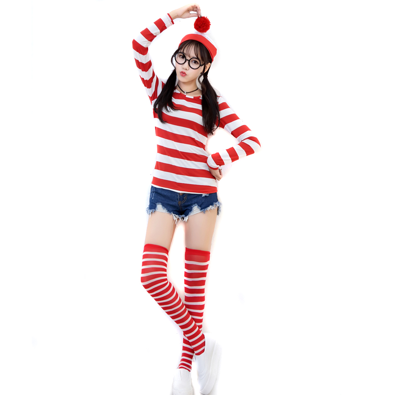 <font><b>Sexy</b></font> New High Quality Woman's Cotton Red Stripe Top <font><b>Halloween</b></font> Cosplay Cartoon Where's Wally Costumes High Quality <font><b>Disfraces</b></font> image