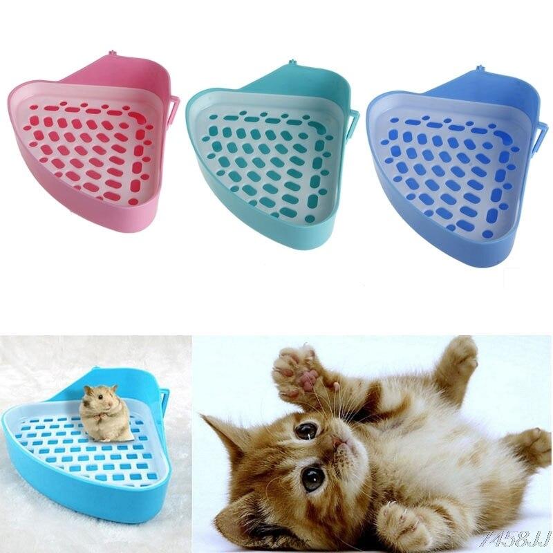 New Small Animal Hamster Pet Cat Rabbit Corner Toilet Litter Trays Clean Indoor Pet Litter Training Tray DropShip